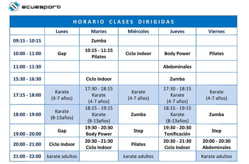 horario gimnasio torrent acuasport