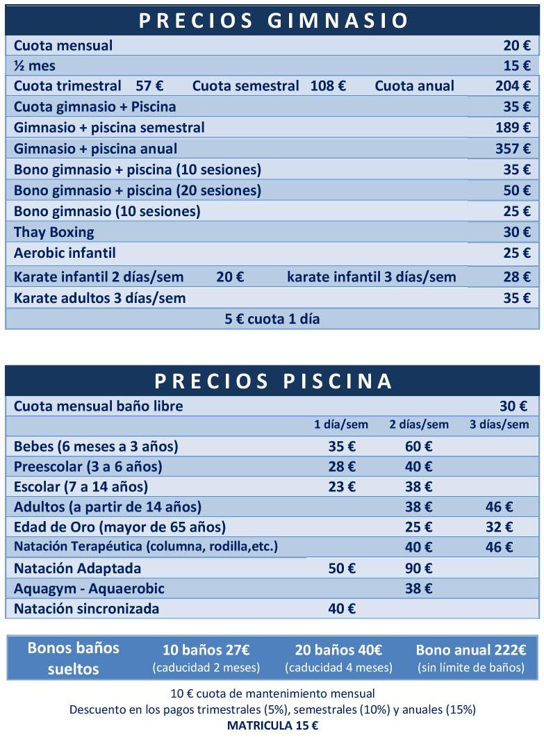 acuasport precios gimnasio