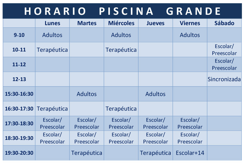 Acuasport horario piscina grande for Horario gimnasio
