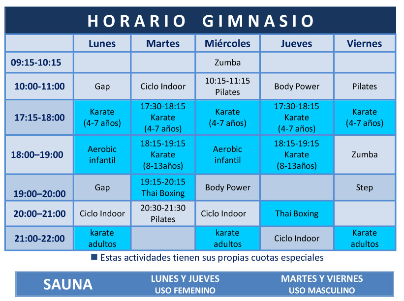Acuasport horario gimnasio for Horario gimnasio